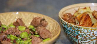 Kalbsgulasch mit dicken Bohnen